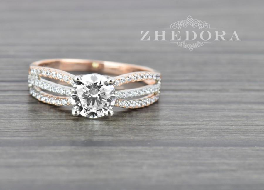 1 60 Ct Round Cut Engagement Ring Bridal Band 14k White Rose Gold Lab Created Diamond Triple Shank