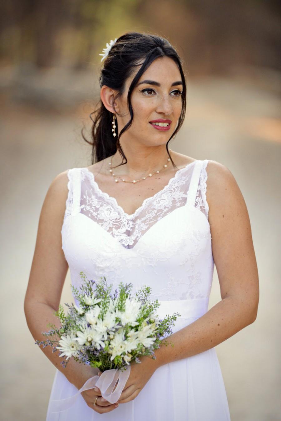 Свадьба - Chiffon Wedding Gown Crochet Lace wedding dress Bohemian Wedding Dress Paulastudio Wedding dress Sweetheart Wedding dress