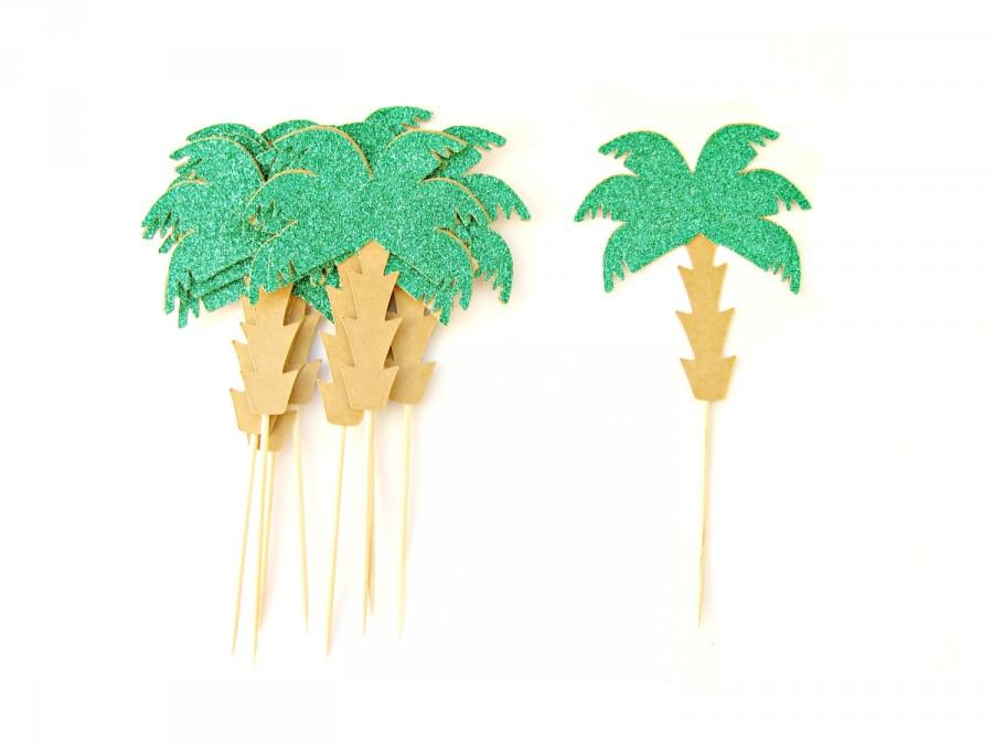 Hochzeit - 10 Palm Tree Cupcake Toppers - Tropical Cupcake Topper, Summer Cupcake Toppers, Summer Birthday, Tropical Party, Beach Party