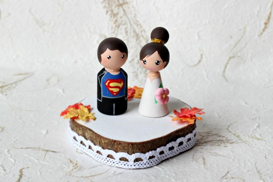 Personalized Wedding Cake Topper Painted Wood Peg Dolls Custom Bride And Groom Top