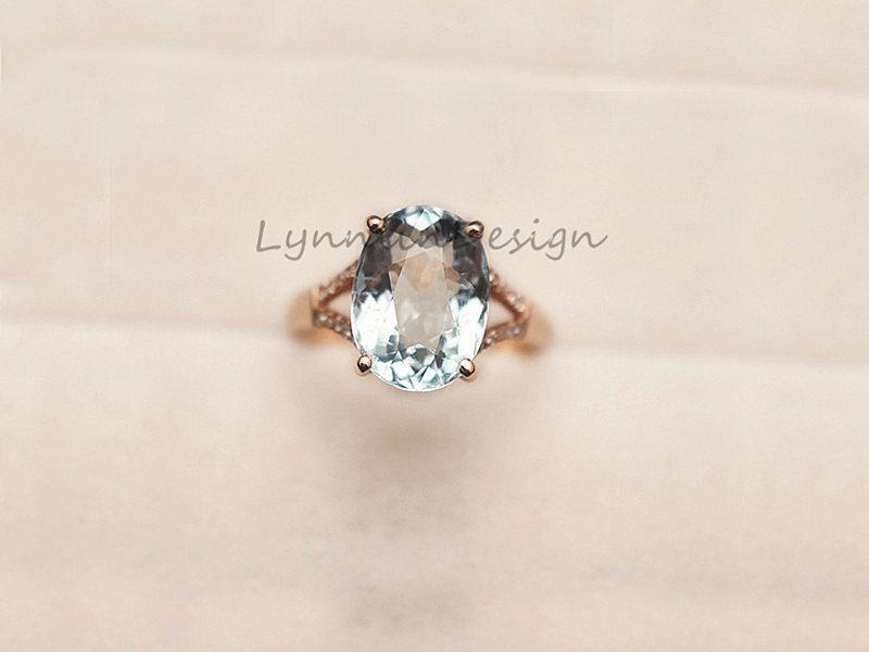 Mariage - 14K Rose Gold Ring 7X9MM Aquamarine Engagement Ring Diamond Wedding Ring Anniversary Ring  Hademade Aquamarine Ring Aquamarine Gem Jewel