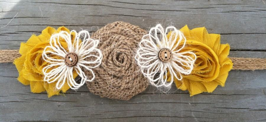 Свадьба - Mustard Yellow Bridal Sash-Burlap Bridal Belt/Headband-Flower Girl Sash-Rustic Flower Girl-Country Wedding-Burlap Sash-Rustic Bridal Sash
