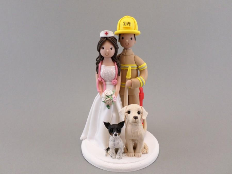 Firefighter Nurse With 2 Dogs Customized Wedding Cake Topper