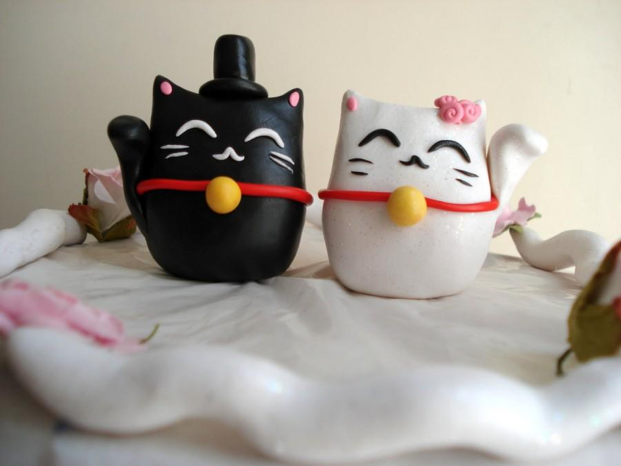 Свадьба - Lucky Cat Cake Toppers Wedding Decorations Cake Decor Wedding Cake Topper Anniversary Keepsake Mr and Mrs Topper Lucky Cats