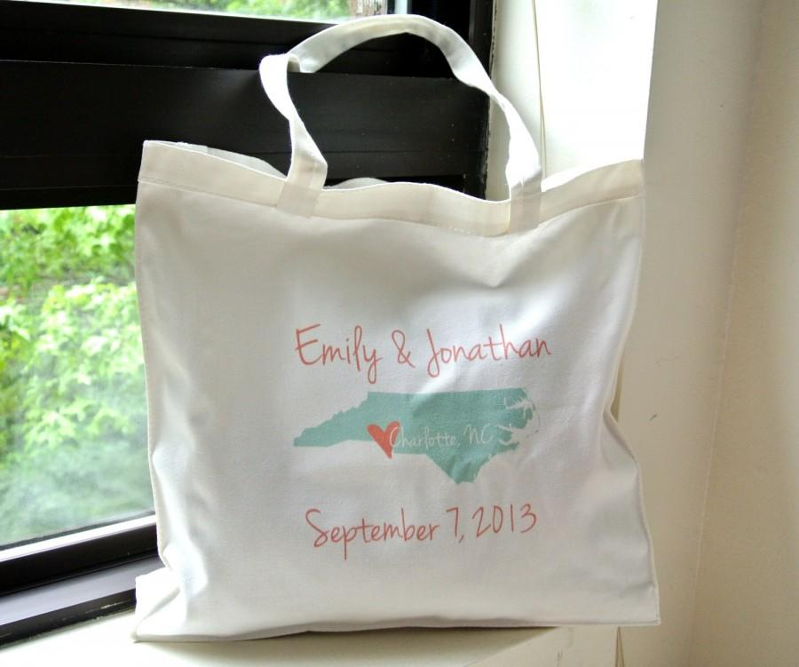 Custom Personalized State Wedding Tote