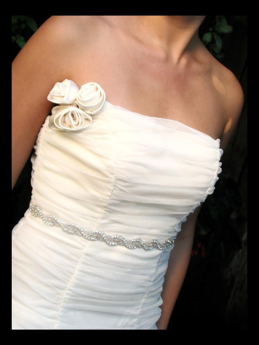 زفاف - Della bridal belt sash,  Rhinestone beaded bridal belt sash, bridal accessories