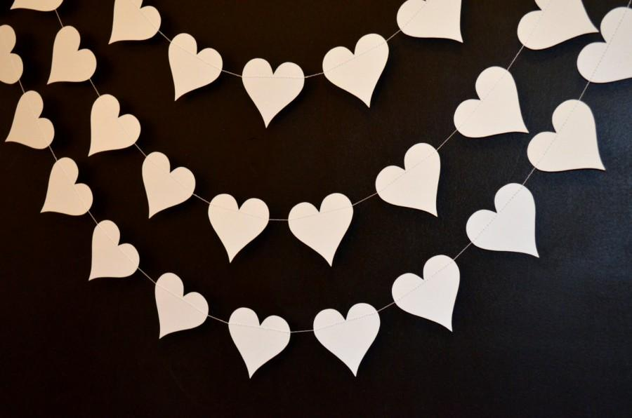 Свадьба - Ivory Hearts garland, Wedding Garland 10 ft Paper Hearts Wedding Decorations, Shower Decorations,  Bridal Shower Garland, Ivory Hearts