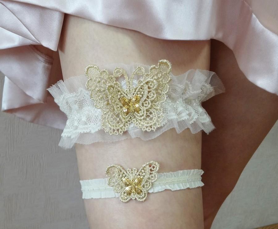 Wedding Garter Set, Gold Butterfly Bridal Garter Set
