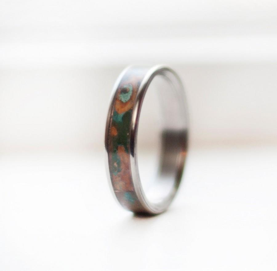 Mariage - Mens Wedding Band Patina Copper Inlay Ring