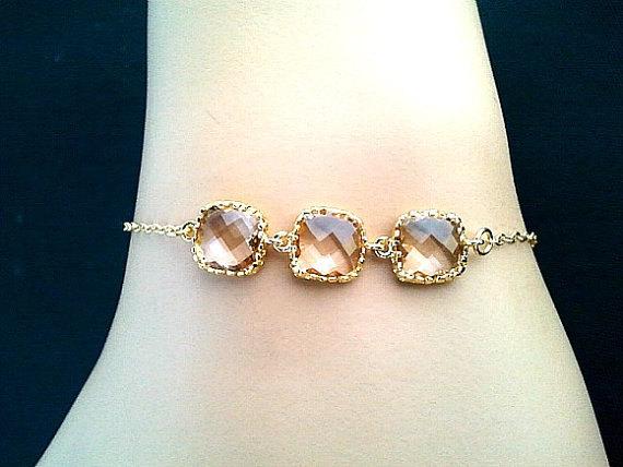 Champagne Peach Wedding Bracelet Gemstone Bridesmaid Gifts Chain Gold Friendship