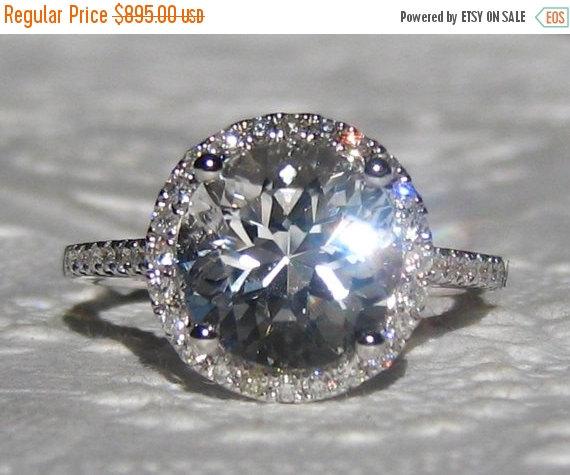 زفاف - Valentines Day Sale... White Topaz in White Gold Diamond Halo Engagement Ring, Diamond Engagement Ring