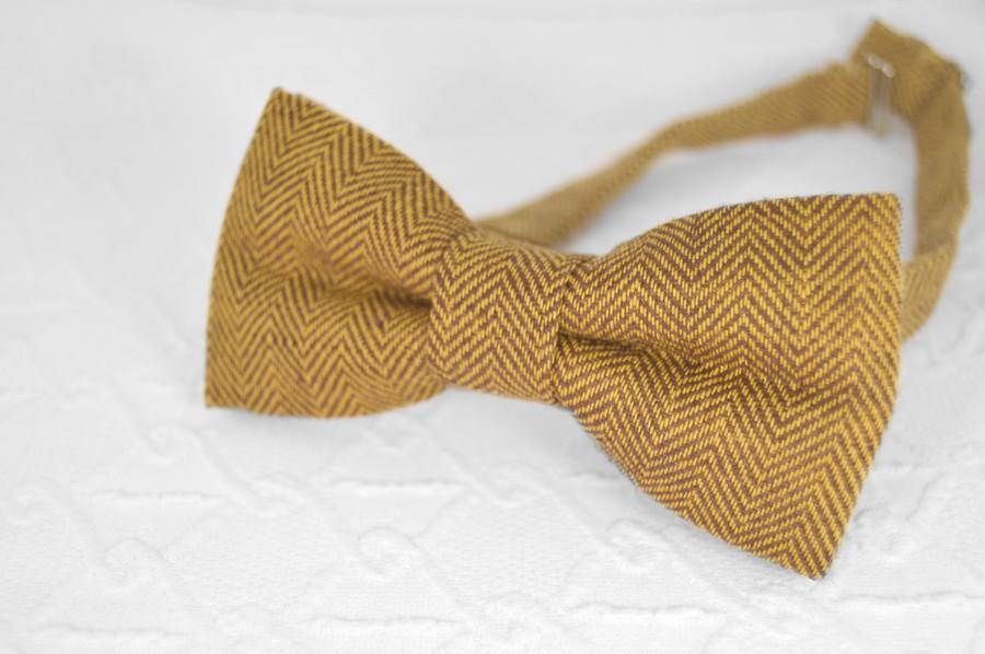 Mariage - Mustard brown bow tie, herringbone bow tie, mens bow tie linen, brown bow tie, wedding bow tie, bow tie for men, brown yellow bow tie
