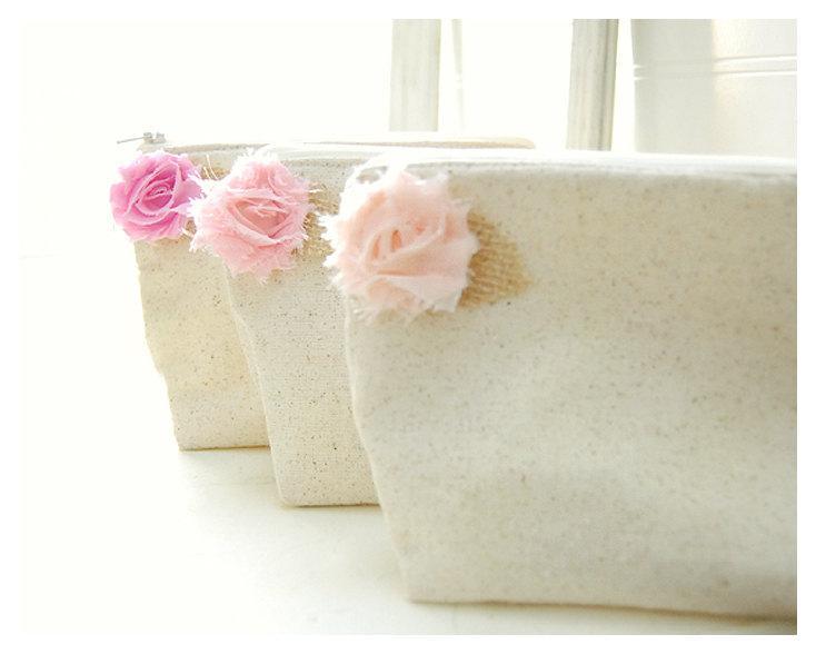 Mariage - Bridesmaid wedding bag clutch set  2, 3, 4, 5 rustic cotton linen burlap leaf zipper cosmetic bag purse Personalize Custom Pouch gift MakeUp