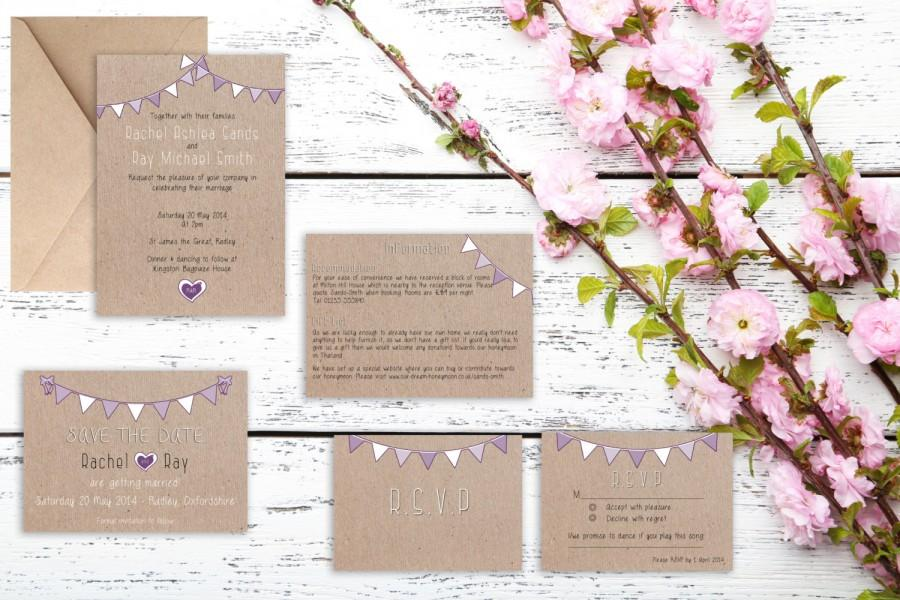 Wedding - Rustic Purple Bunting wedding invitation. Matching save the date, RSVP, table numbers available