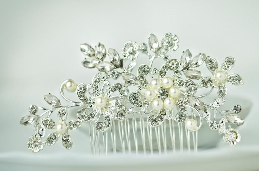 Свадьба - bridal hair comb, rhinestone hair comb, crystal hair comb, bridal hair piece wedding hair comb blue rhinestone hair piece crystal hair piece