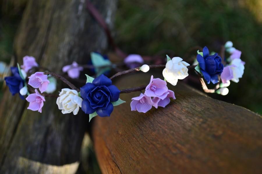 زفاف - wedding flower crown.wedding floral wreath. bridal crown. wedding headpiece. head wreath.bride hair accessory. bridal headband