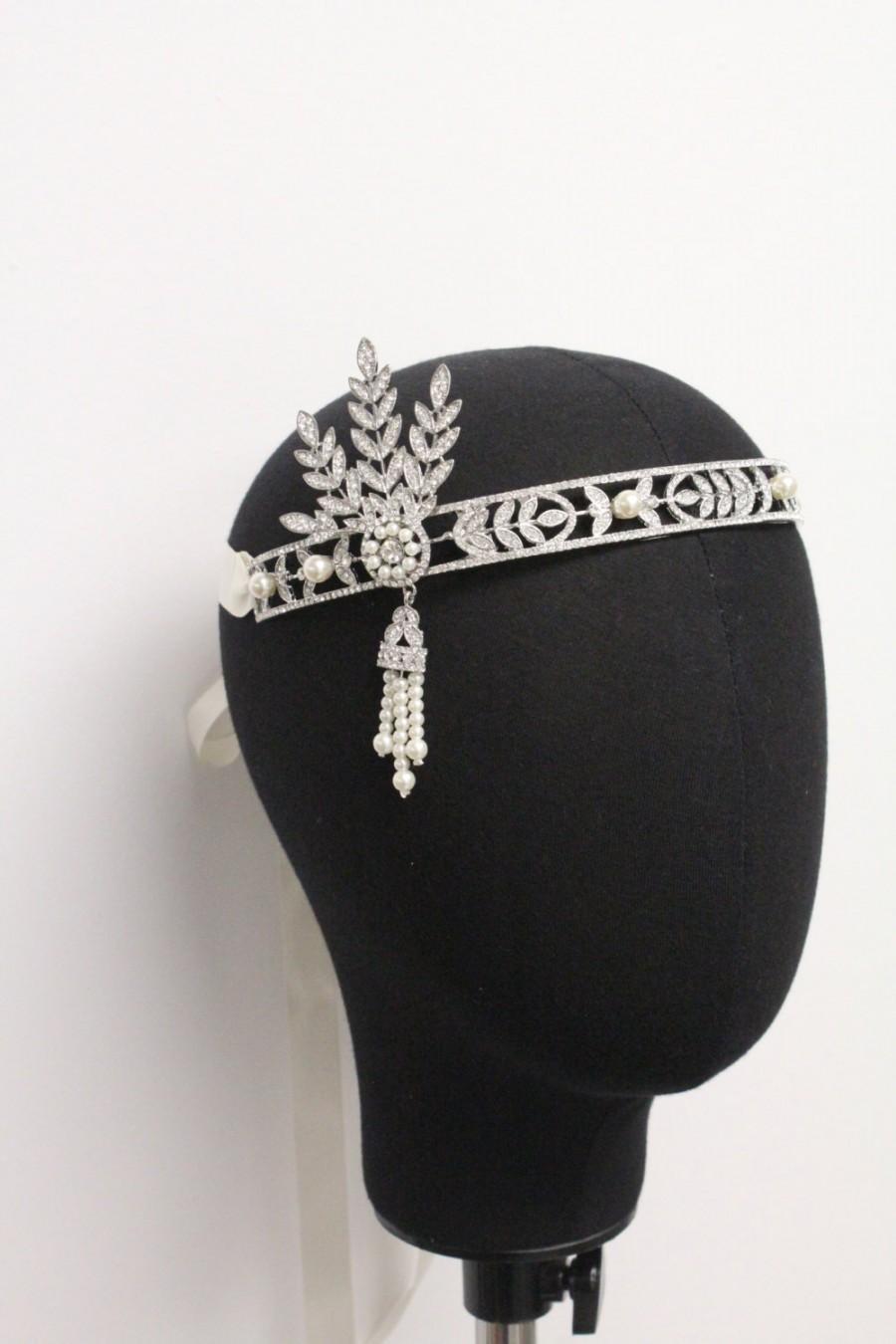 زفاف - The Great Gatsby Headband,Flapper headband,roaring 20's wedding hairpiece,Great gatsby hair accessories,Gatsby headpiece,bridal headband