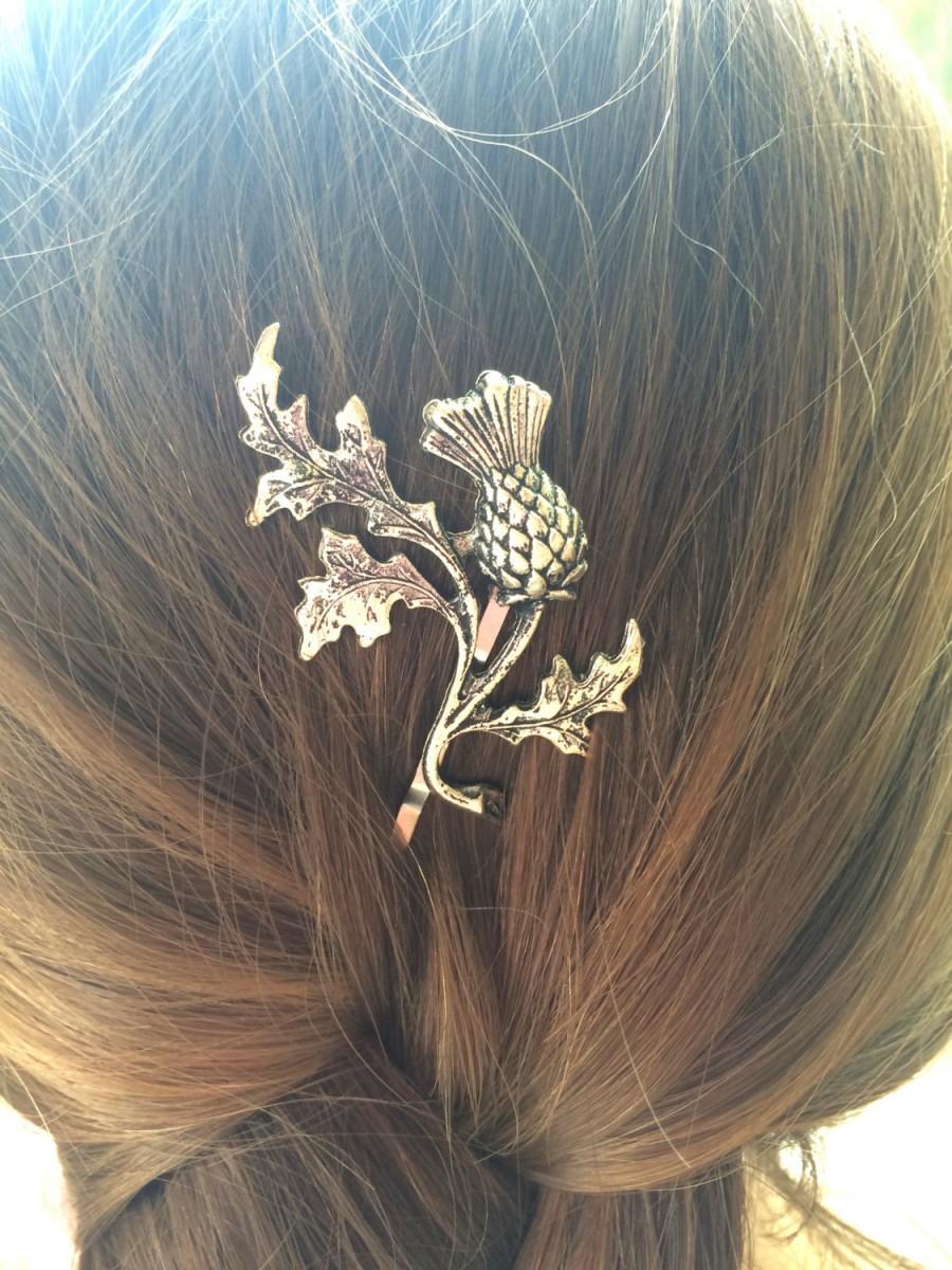 Hochzeit - Silver Thistle Bobby Pin Scottish Thistle Hair Pin Leaf Hair Pin Leaf Bobby Pin Scottish Wedding Scottish Bridal Hair- soldered not glued!