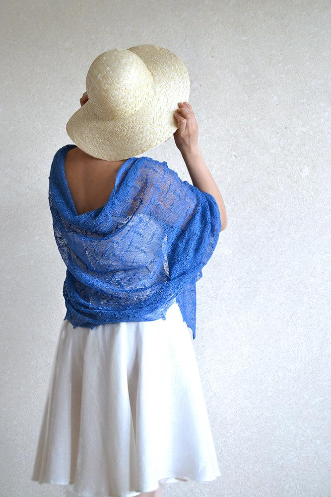 Wedding - Blue Scarf Linen Shawl Sheer Wrap Bridesmaids Stole Linen Gauze Knitted Lace Scarf