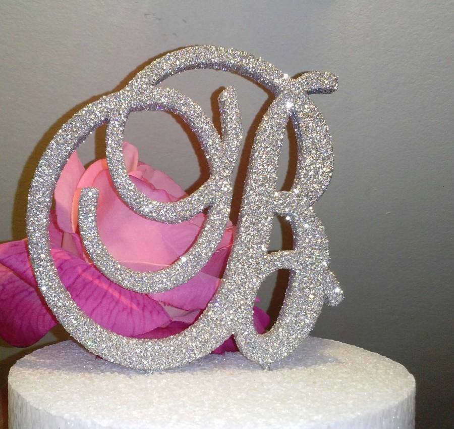 Свадьба - 6 inch SILVER Monogram Glitter wedding cake topper