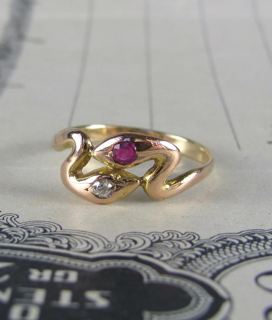 زفاف - VICTORIAN ruby and mine cut diamond rose gold double snake ring, antique diamond engagment ring, alternative engagement ring, promise ring.