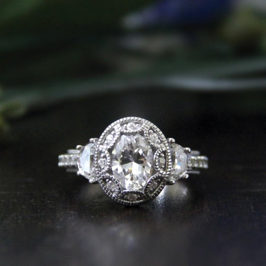 زفاف - 1.50 ct Art Deco Ring-Art Deco Engagement Ring-Oval Cut Diamond Simulant-Vintage Ring-Bridal Ring-Promise Ring-925 Sterling Silver-R39750
