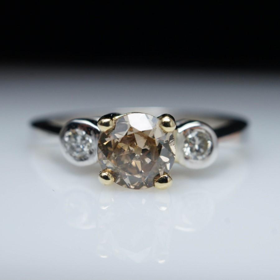 زفاف - Vintage .70ctw Champagne European Cut Diamond Three Stone Vintage Engagement Ring 14k White Gold Light Brown Diamond Engagement Ring