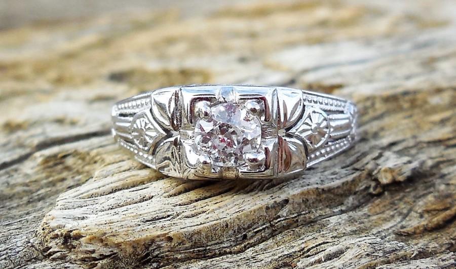 زفاف - Vintage Antique .40ct Old Mine Cut Diamond Unique Engagement Ring 1920's Art Deco 18k White Gold Filigree