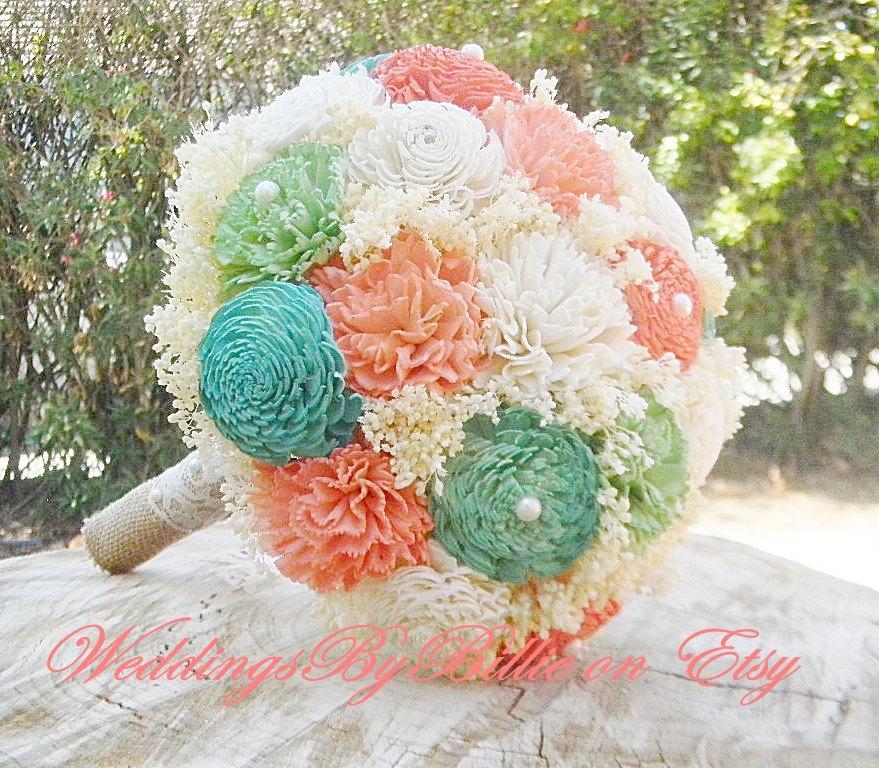 Wedding - Weddings, Mint Peach Bouquet, Burlap Lace, Sola Bouquet, Alternative Bouquet,Rustic Shabby Chic,Bridal Accessories, Keepsake Bouquet, Mint