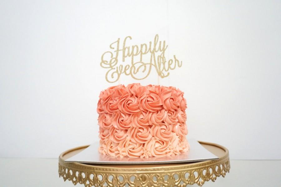 Wedding Cake Topper Happily Ever After Cake Topper Gold Cake