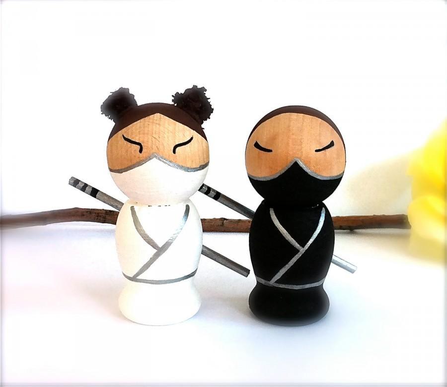 Ninja Wedding Cake Toppers Kokeshi Doll Personalized Semi Custom Wooden Anese Dolls