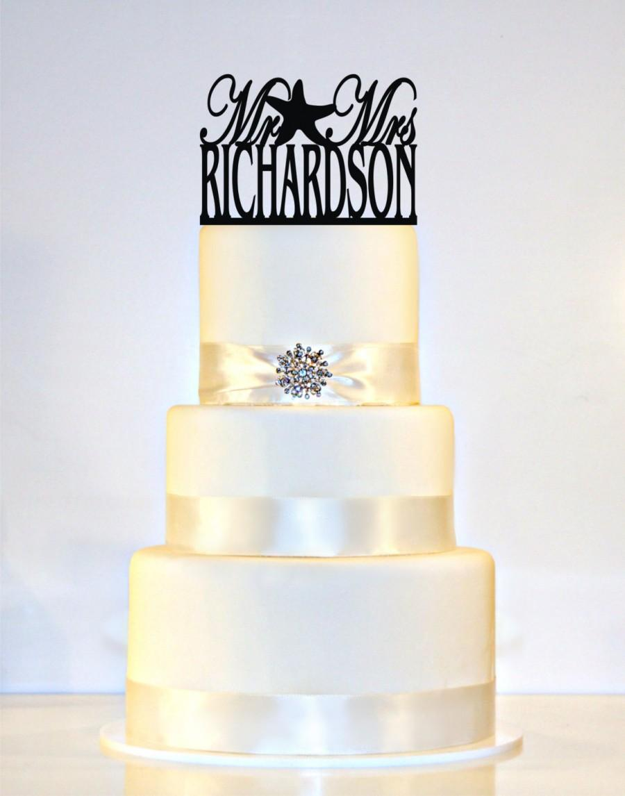 """Свадьба - Wedding Cake Topper Or Sign Starfish Monogram  personalized with """"Mr & Mrs"""" and YOUR Last Name"""