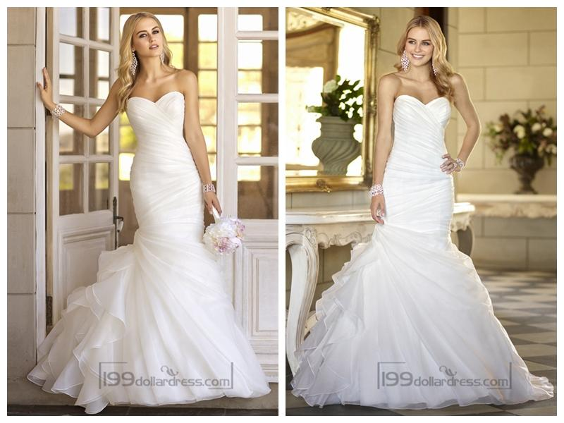 Mariage - Trumpet Asymmetrical Pleated Bodice Sweetheart Vintage Wedding Dresses