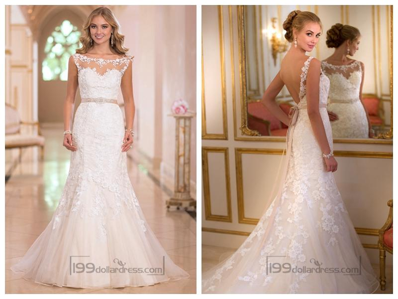 Wedding - Fit and Flare Illusion Lace Bateau Neckline Wedding Dresses with Open V-back
