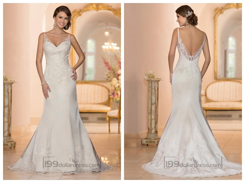 Wedding - Elegant Fit and Flare Illusion Straps Wedding Dresses with Deep V-back