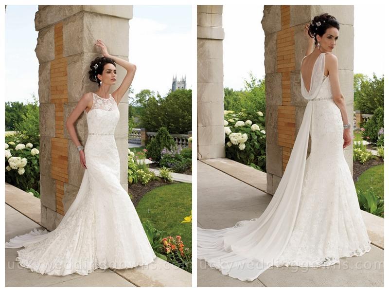 Hochzeit - Sleeveless Slim A-line Wedding Dress with Lace Bateau Neckline