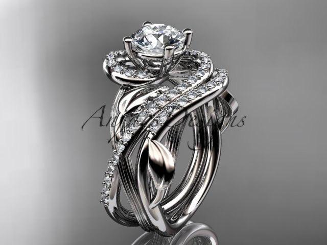 زفاف - Unique platinum diamond leaf and vine wedding set, engagement set ADLR222