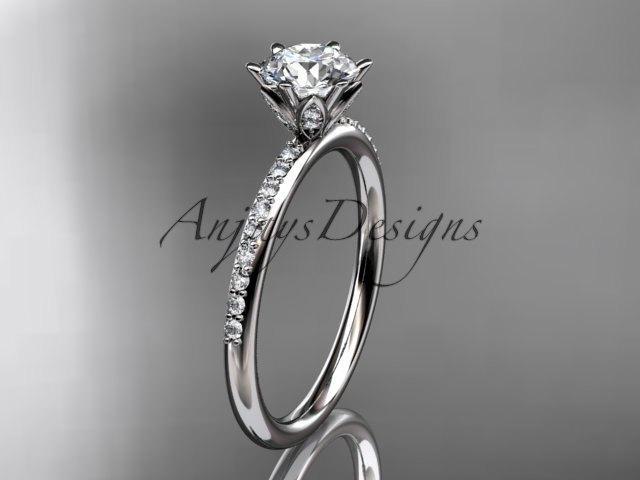 زفاف - 14kt white gold diamond unique engagement ring, wedding ring ADER145