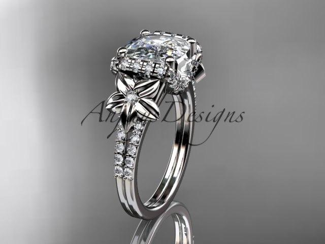 Wedding - 14kt white gold diamond floral wedding ring, engagement ring with cushion cut moissanite ADLR148
