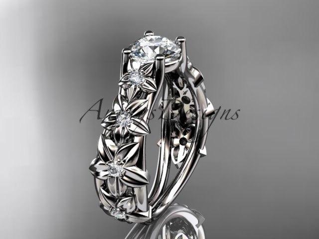 زفاف - 14kt white gold diamond floral wedding ring, engagement ring ADLR149