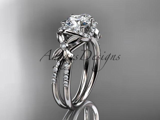 """زفاف - 14kt white gold diamond floral wedding ring, engagement ring with a """"Forever One"""" Moissanite center stone ADLR140"""