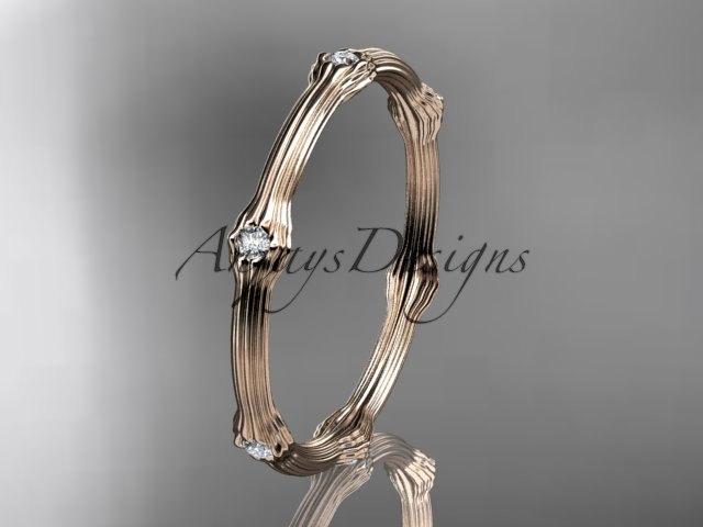 Mariage - 14k rose gold diamond vine wedding ring,engagement ring. ADLR37