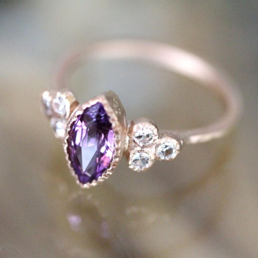 Свадьба - Purple Pink Sapphire 14K Rose Gold Engagement Ring, Gemstone Ring, Stacking Ring, Birthstone Ring, Eco Friendly - Ship In The Next 9 Days