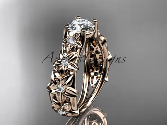 Wedding - 14kt  rose gold diamond floral wedding ring,engagement ring ADLR149