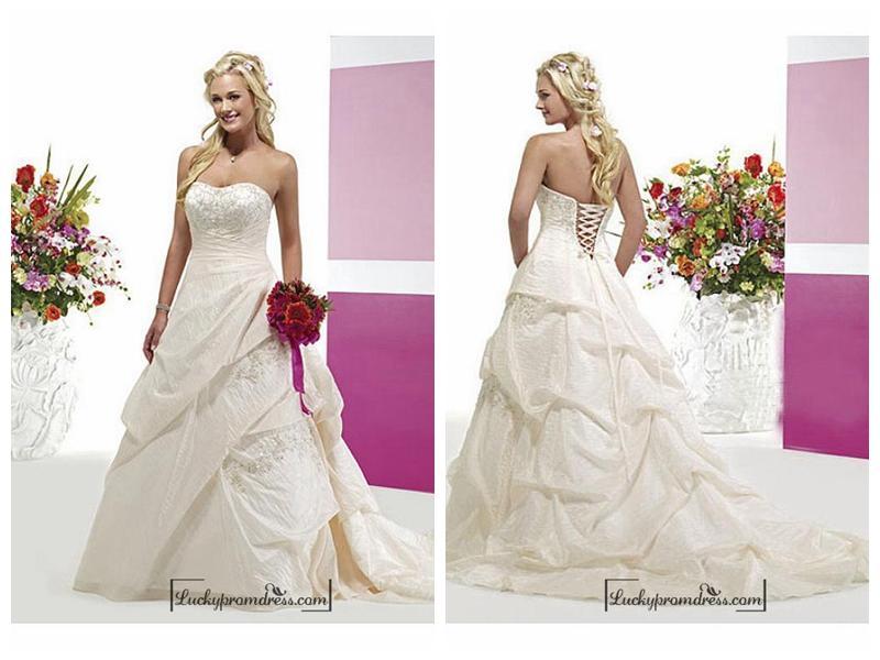 Simple A Line Sweetheart Taffeta Wedding Dress With: Beautiful Elegant Taffeta A-line Sweetheart Wedding Dress