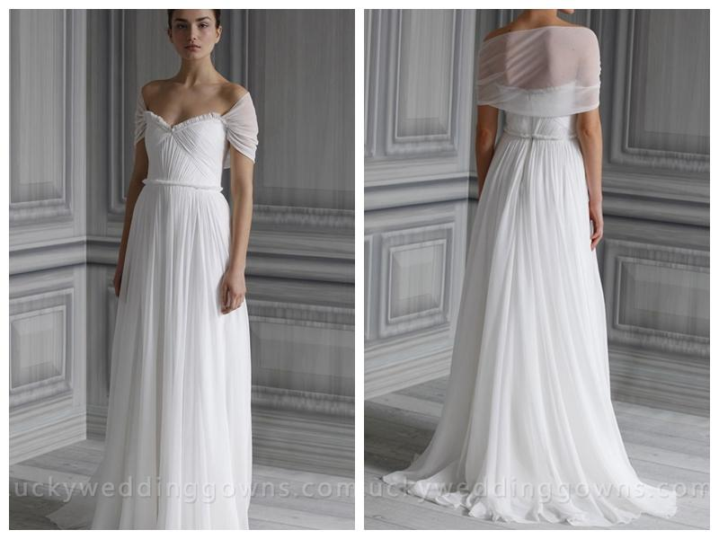 White Chiffon Wedding Gown With Draped Bodice And Frayed Neckline ...