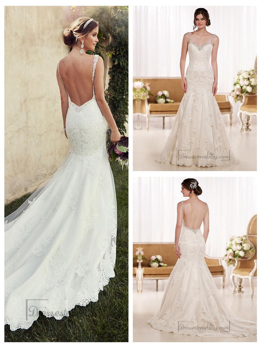 Low Back Wedding Dress Fit And Flare : Beading straps sweetheart fit and flare lace wedding