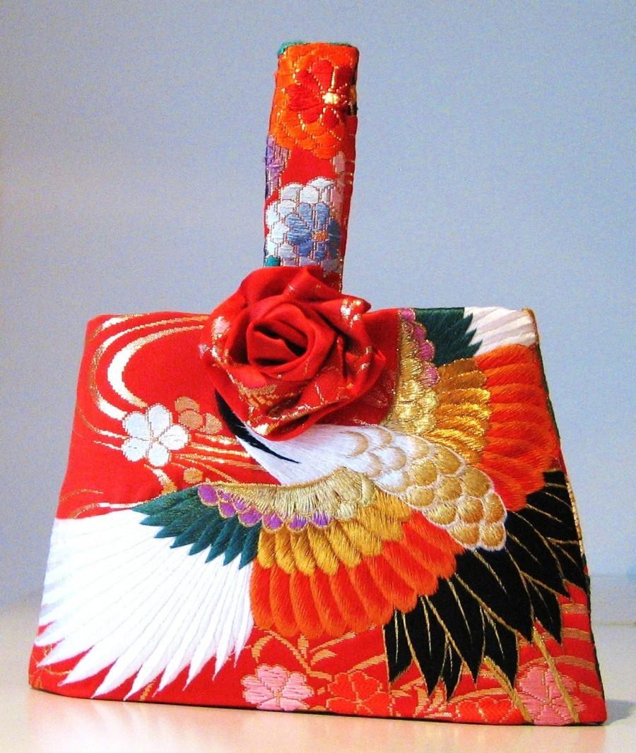 Mariage - Wedding Purse vintage KIMONO crane flower red embroidery hand bag