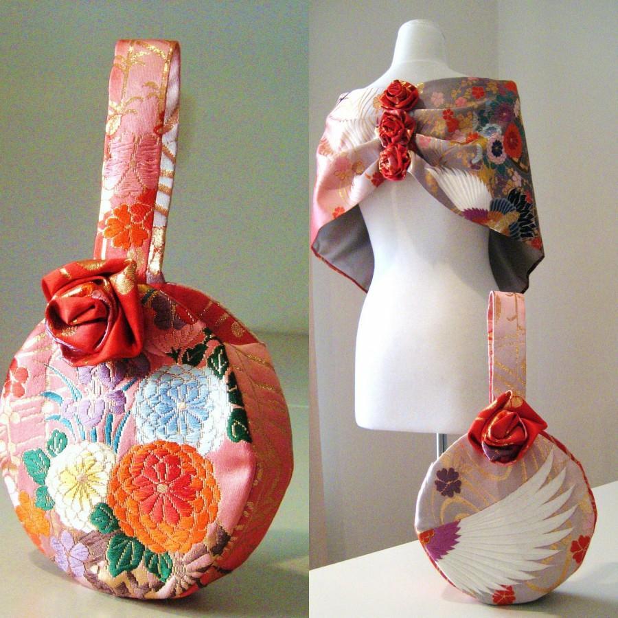 Wedding - Wedding Purse vintage KIMONO flower round red grey pink hand bag