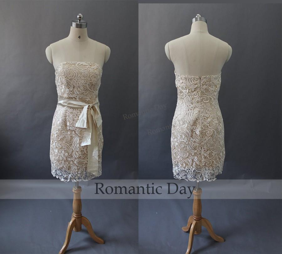 2015 strapless sheath short champagne lace bridesmaid for Champagne lace short wedding dress